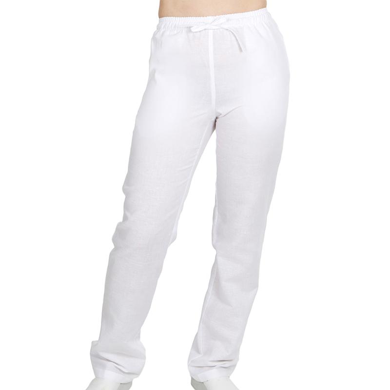 7018 unisex bolsillos lino blanco