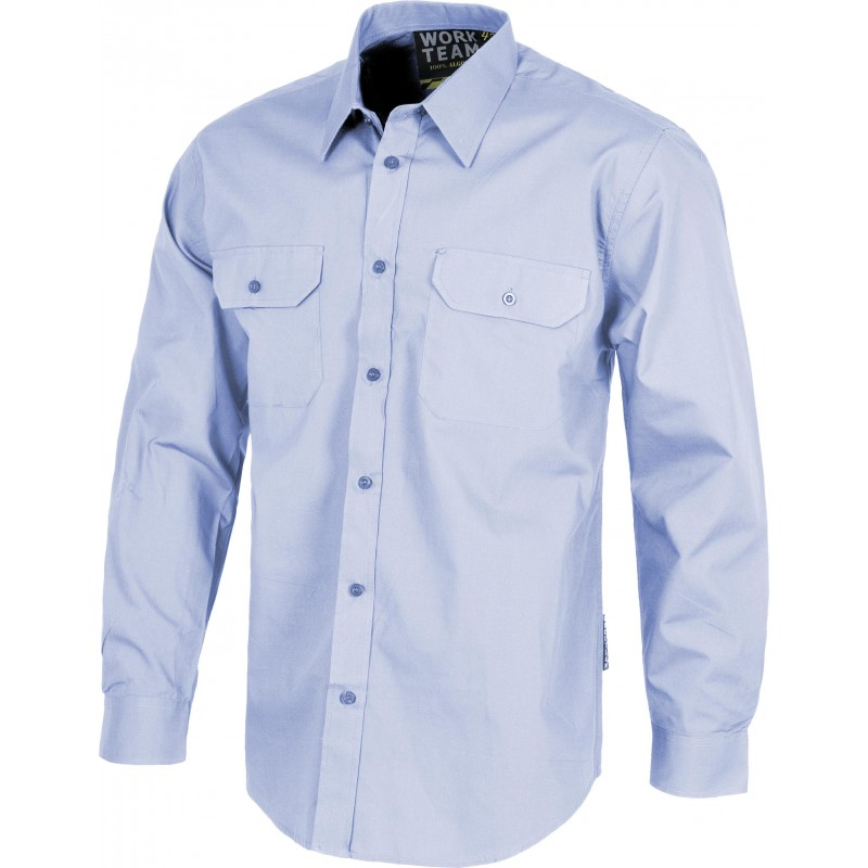Camisa b8001 manga larga y bolsillos de plaston workteam