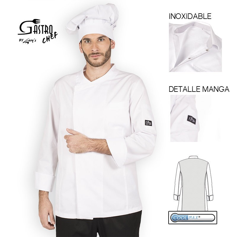 Casaca chef 9320 hermes 100 algodon egipcio cool max garys