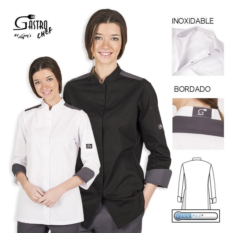Casaca chef 9355 artemisa blanco para mujer cool max garys