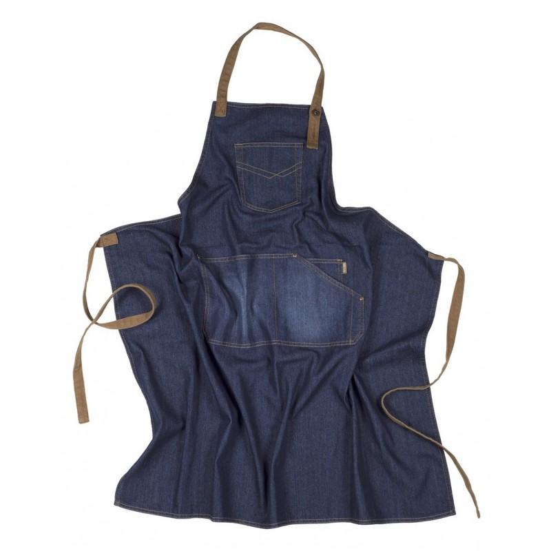 Delantal m710 vaquero con peto y bolsillos workteam