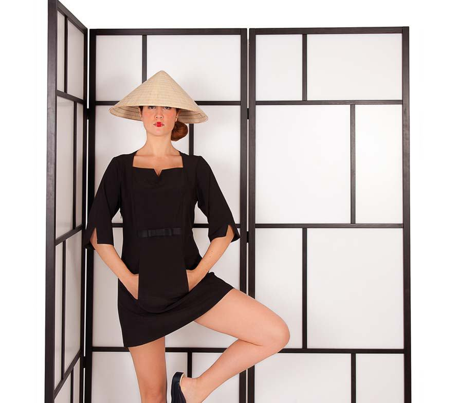 Vestido 5539 3 4 asia sin mangas garys negro