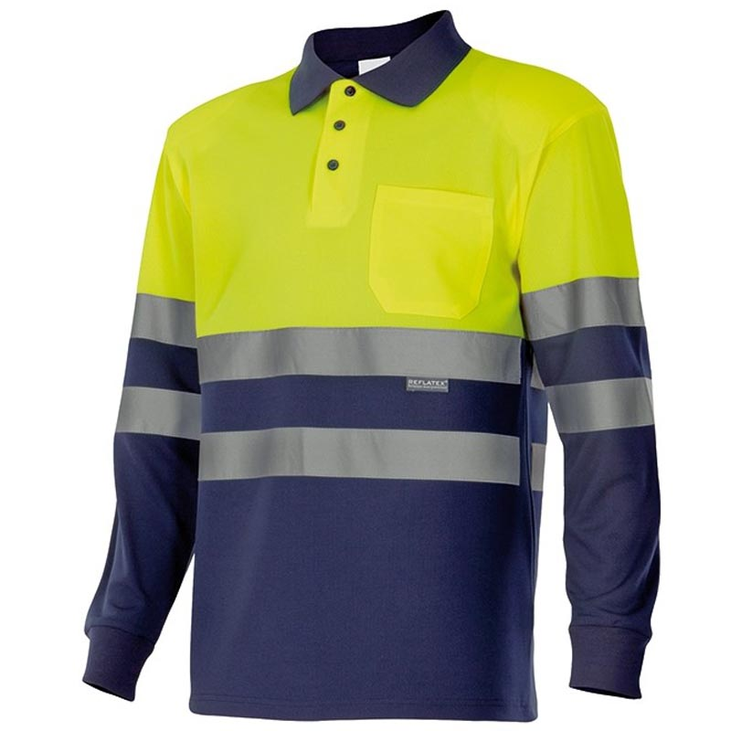 Polo bicolor alta visibilidad manga larga