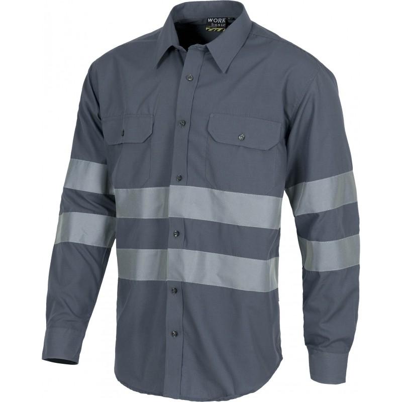 Camisa b8007 de manga larga con cierre de botones