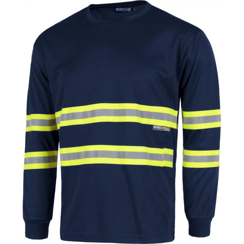 Camiseta c3937 alta visibilidad manga larga workteam