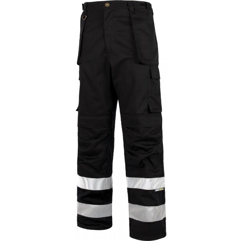 Pantalon c2911 recto multibolsillos reforzado con cintas reflectantes workteam