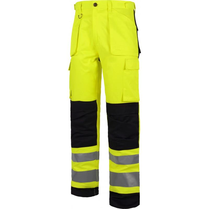Pantalon c2912 de alta visibilidad reflectante multibolsillos workteam